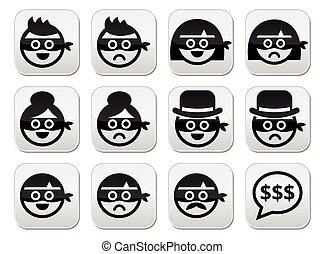 femme homme, voleur, masques, faces