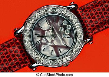 femme, horloge