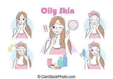 femme, huile, peau