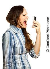 femme, hurlement, fâché, téléphone affaires, elle, frustré