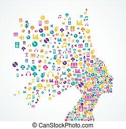 femme, icônes, app, éclaboussure, musique, hea