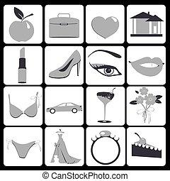 femme, icônes