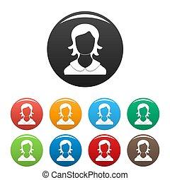 femme, icônes, collection, ensemble, utilisateur, cercle