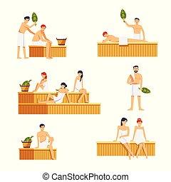 femme, icônes, gens, sauna, characters., vecteur, homme