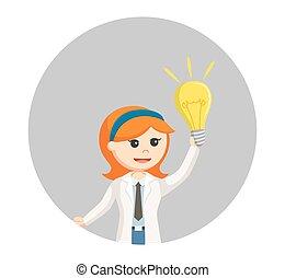 femme, idée, scientifique, fond, ampoule, cercle