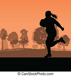 femme,  Illustra,  rugby,  nature, campagne, fond,  silhouette