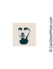 femme, illustration., émotions, figure, vecteur, avatar, expressions