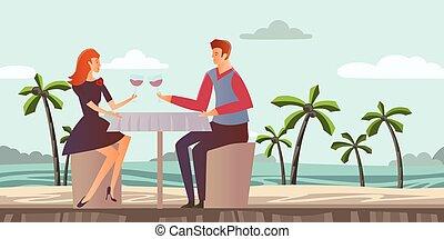 femme, illustration., arbres., couple, love., jeune, exotique, dîner, vecteur, paume, sea., romantique, date, plage, homme