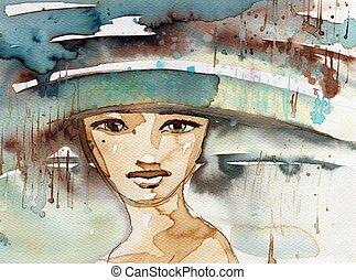 femme, illustration, jeune, dépeindre, portrait, aquarelle, beau