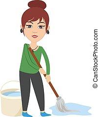 femme, illustration, lavette, arrière-plan., vecteur, nettoyage, blanc