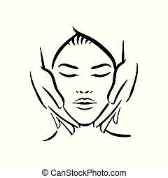 femme, illustration, main, vecteur, fond, spa, dessiné, visage blanc, masage