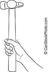 femme, illustration, main, vecteur, tenue, monochrome, marteau
