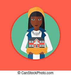 femme, illustration., maison, vecteur, tenue, modèle