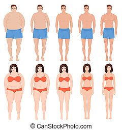 femme, illustration., stage., gens, après, régime, amaigrissement, vecteur, homme, dessin animé, avant