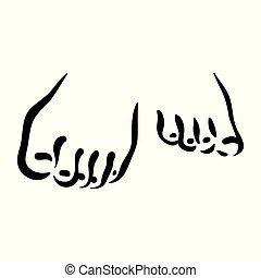 femme, illustration., symbole, pieds, vecteur, fond, pied, blanc, icône, soin