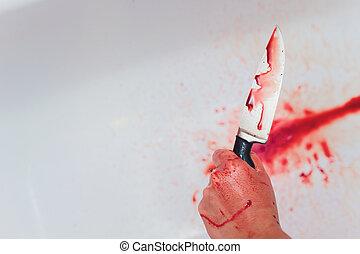 femme, inconnu, horreur, halloween, sanglant, tenant mains, sink., tache, concept., image, couteau