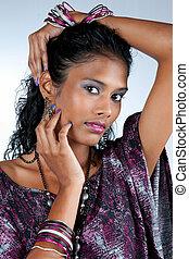 femme, indien, beau