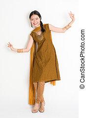 femme, indien, chinois, danse