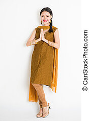 femme, indien, chinois, salutation