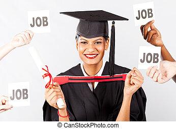 femme, indien, diplômé, à, métier, offres