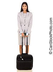 femme, indien, voyageur affaires, à, bagage, sac