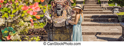 femme, indonésie, touriste, bali, format, palais, jeune, long, tirtagangga, parc eau, taman, bannière