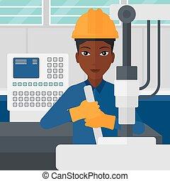 femme, industriel, equipment., fonctionnement