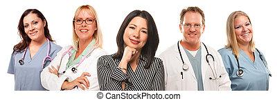femme, infirmières, hispanique, femme, médecins, mâle, ou