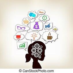 femme, infographic, idées, social