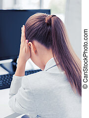 femme, informatique, accentué