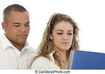 femme, informatique, homme