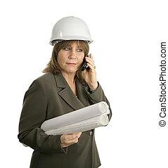 femme, ingénieur, discute, plans