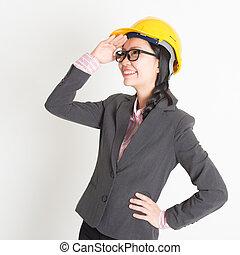 femme, ingénieur, regarder loin