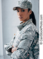 femme, inmilitary, uniforme, soldat