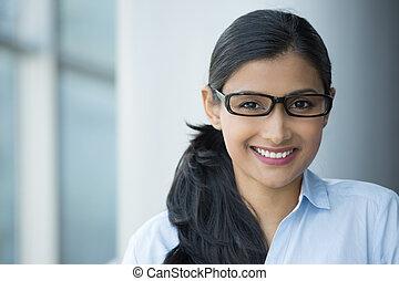 femme, intelligent, nerdy