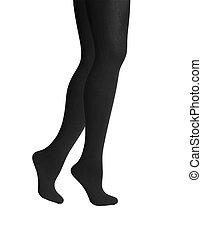 femme, isolé, arrière-plan noir, blanc, jambes