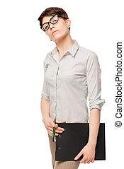 femme, isolé, confiant, fond, blanc, lunettes