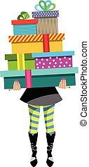 femme, isolé, dons, mode, tenue, pile