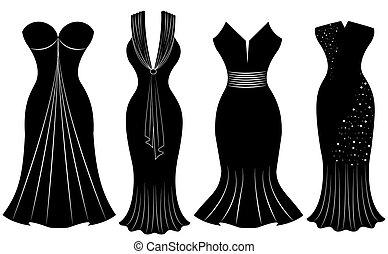 femme, isolé, fond, fête, robes blanc