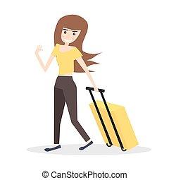 femme, isolé, jaune, jeune, arrière-plan., valise, blanc
