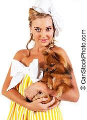 femme, isolé, -, jeune, chien, tenue