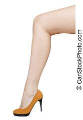 femme, isolé, long, jambe