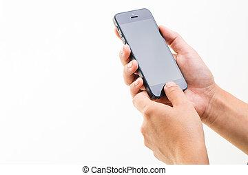 femme, isolé, main, téléphone, tenue, blanc, intelligent