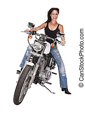 femme, isolé, moto