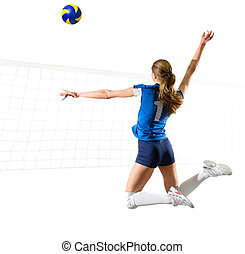 femme, isolé, voleyball, joueur, ball), filet, (ver