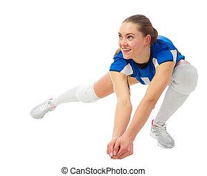 femme, isolé, voleyball, joueur, sans, ball), (ver