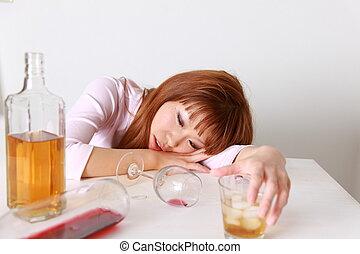 femme, ivresse