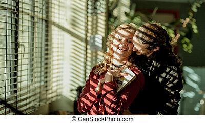 femme, jalousie, couple, lorgner, bibliothèque, girl, fenêtre, relations, girl, passionné, amour, homme
