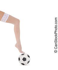 femme, jambe, balle, bas, blanc, football