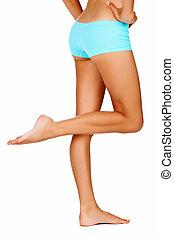 femme, jambes, bronzé